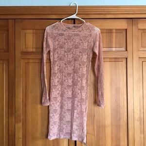 See thru lace body con dress